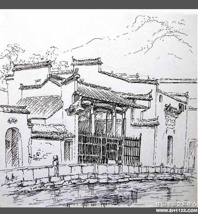 安徽宏村速写图片