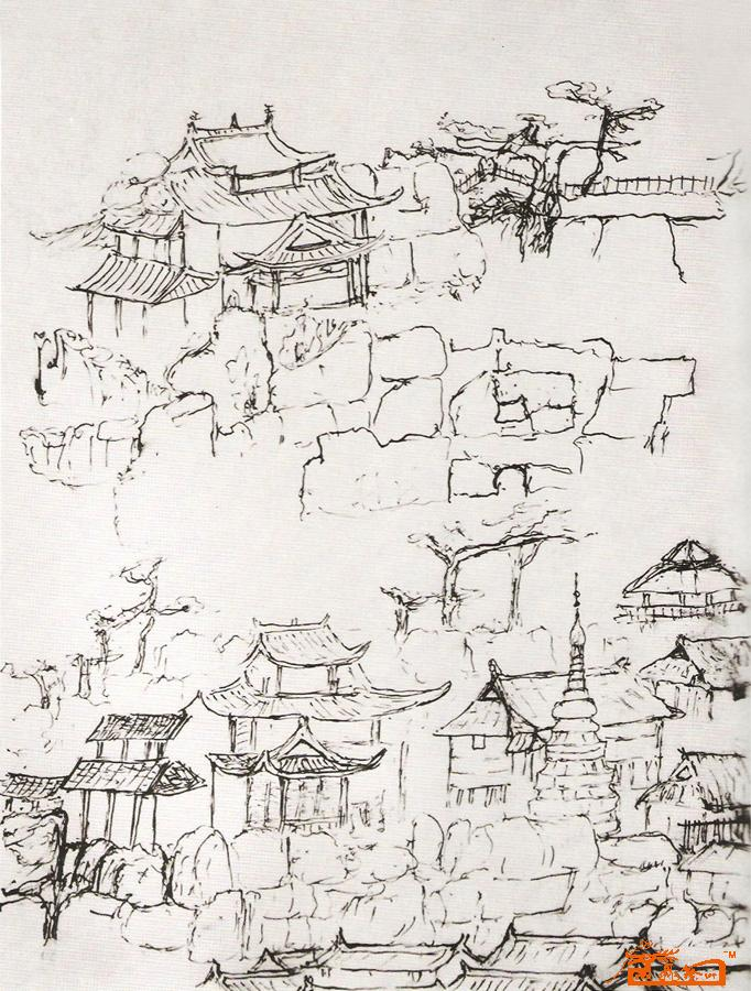 手绘国画北京四合院